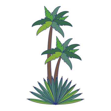 Beach palms trees with leaves cartoon isolated vector illustration graphic design