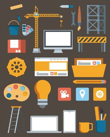 technology maintenance support website contruction set devices with engineer tools vector illustration graphic design