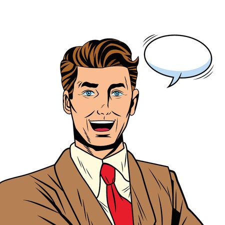 Pop art businessman with suit speech bubble smiling grin cartoon vector illustration graphic design Ilustración de vector