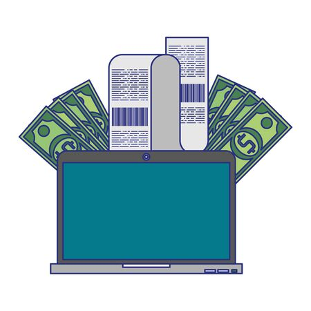 Online shopping and payment laptop with bill and cash symbols vector illustration graphic design