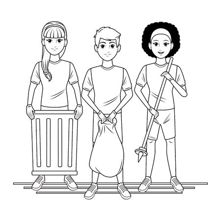 cleaning service person woman with braid holding a trash can, afromerican woman with garbage picker and man holding a garbage bag profile picture avatar cartoon character portrait in black and white vector illustration graphic design