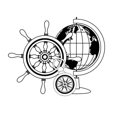 retro world map and compass with helm navigation vector illustration design  イラスト・ベクター素材