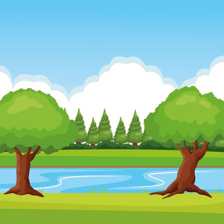 forest landscape with river and leafy tress icon cartoon Иллюстрация