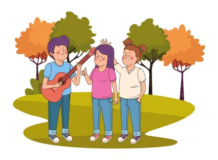 Teenagers friends playing guitar and singing in the nature park with trees, landscape scenery ,vector illustration graphic design.  イラスト・ベクター素材