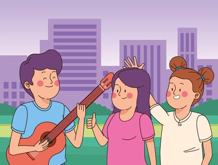 Teenagers friends playing guitar and singing in the city park, urban cityscape scenery background ,vector illustration graphic design.