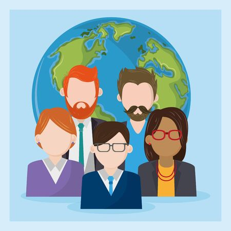 Business workers characters on world symbol, blue background ,vector illustration.