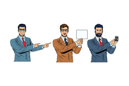 Pop art businessmen presentation holding smartphone showing blank sign and pointing vector illustration graphic design