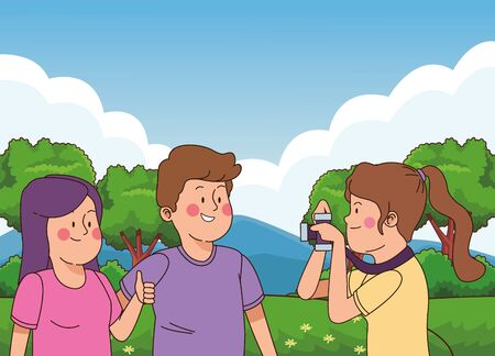 Teenagers friends taking photos with camera in the nature park with trees, landscape scenery ,vector illustration graphic design.