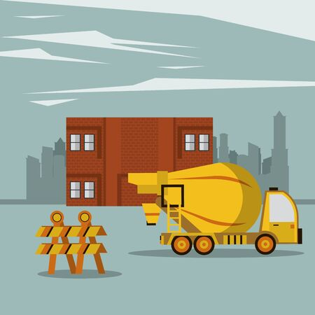 Construction cement truck with barrier in working zone vector illustration graphic design