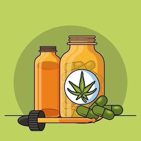 Cannabis natural medicine supplies cartoons vector illustration graphic design