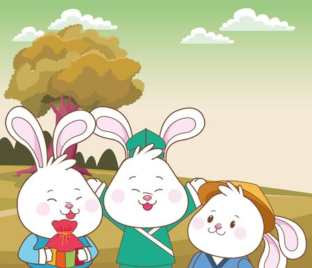 Rabbits celebrating mid autumn festival with gift bag cartoons in the forest, landscape background ,vector illustration graphic design. Иллюстрация