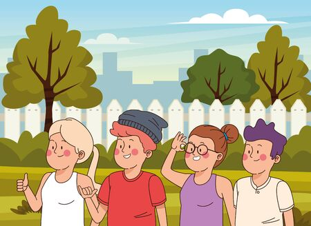 Teenagers friends smiling and greeting with cool clothes and accesories in the city park scenery, urban scenery ,vector illustration.