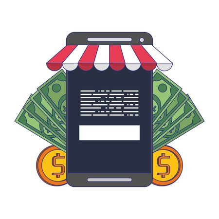 Online shopping and payment smartphone store and cash symbols vector illustration graphic design