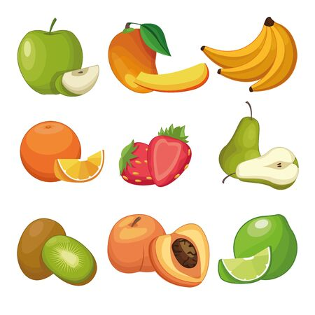 Delicious fruits apple peach bananas pear strawberries peach lemon kiwi set of cartoons over white background vector illustration graphic design