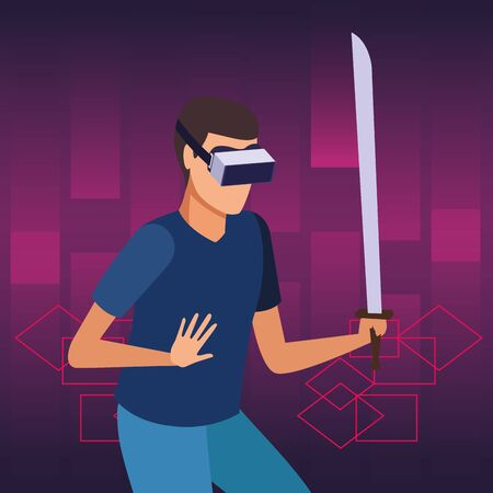 virtual reality technology, young man living a modern digital experience with headset glassesand sword cartoon on purple digital background ,vector illustration.