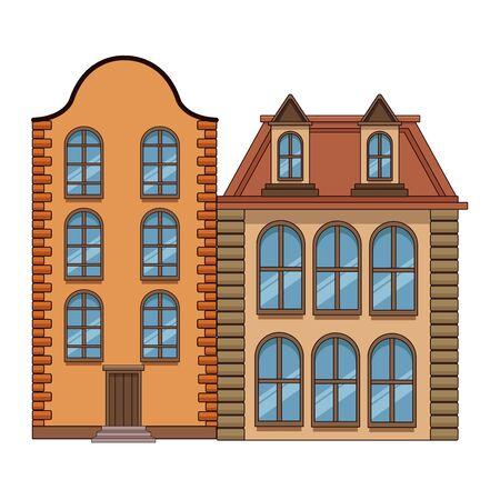 Edifici urbani e architettura della città, classici moderni e oggetti d'antiquariato immobili edifici illustrazione vettoriale graphic design. Vettoriali