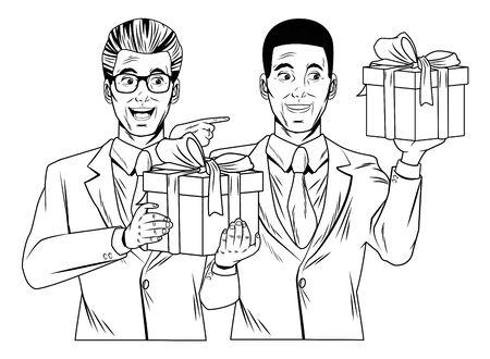 homme afro-américain avatar homme portant un costume homme avec des lunettes et portant un costume tenant un profil de coffrets cadeaux