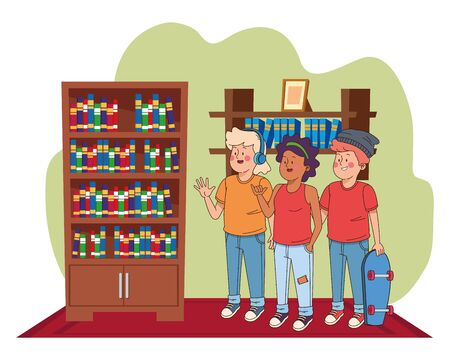 Teenagers friends smiling and greeting with cool clothes and accesories in house study room with library ,vector illustration.  イラスト・ベクター素材