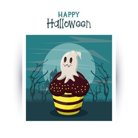 Happy halloween season card with ghost seated on cupcake at night cartoons ,vector illustration graphic design.