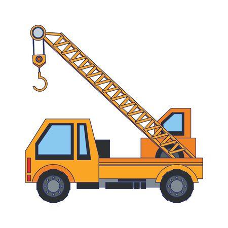 construction architecture engineering crane truck cartoon vector illustration graphic design