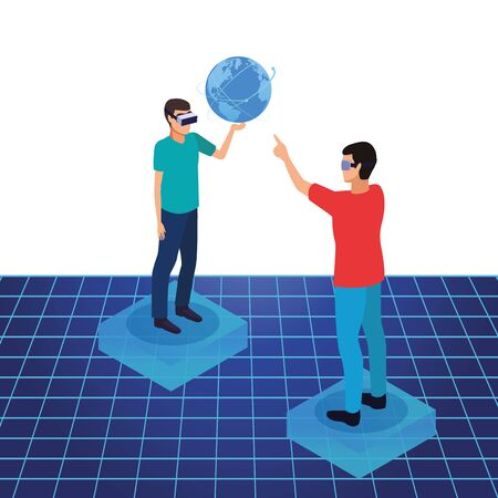 virtual reality technology, young men friends living a modern digital experience with headset glassestouching world map cartoon ,vector illustration.