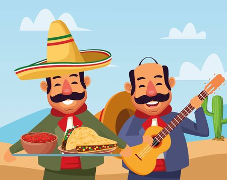 mexican traditional culture mariachis man with moustache, mexican hat and guitar and man with moustache and mexican hat holding a tray with mole sauce and tacos avatar cartoon character in desert lanscape and cloudy sky with cactus vector illustration graphic design