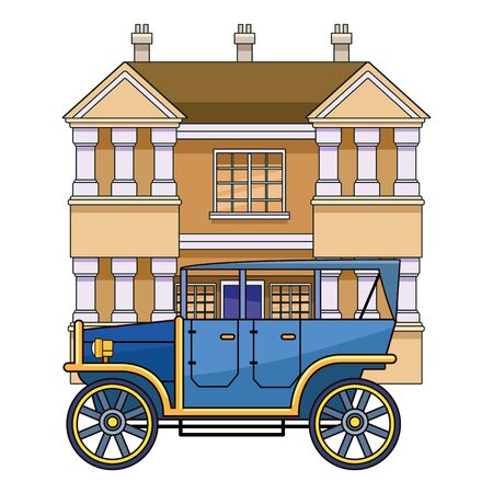 Classic and vintage big house building real estate with classic car parked vector illustration graphic design. Çizim