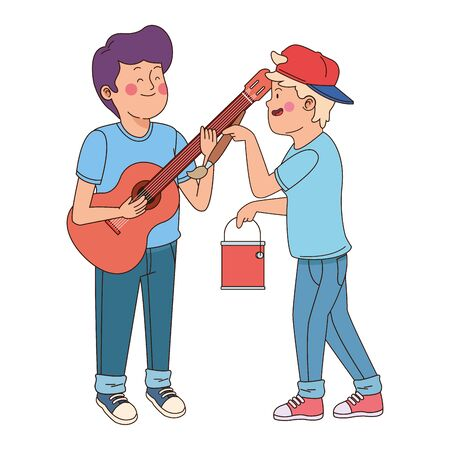 Teenagers friends playing guitar and painting with brush isolated,vector illustration graphic design.