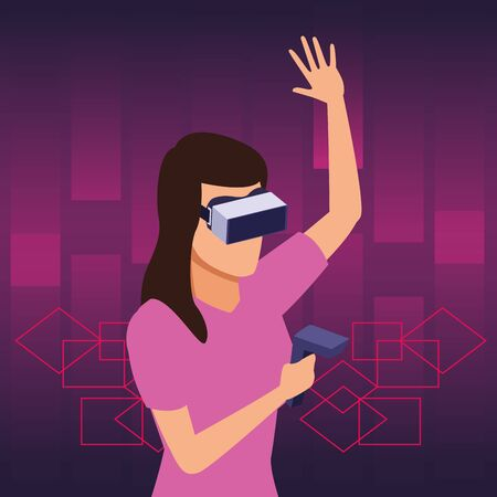 virtual reality technology, young woman living a modern digital experience with headset glassesand joystick cartoon on purple digital background ,vector illustration.
