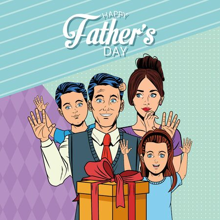 Happy fathers day card with dad mom and kids holding gift box pop art cartoons and background vector illustration graphic design