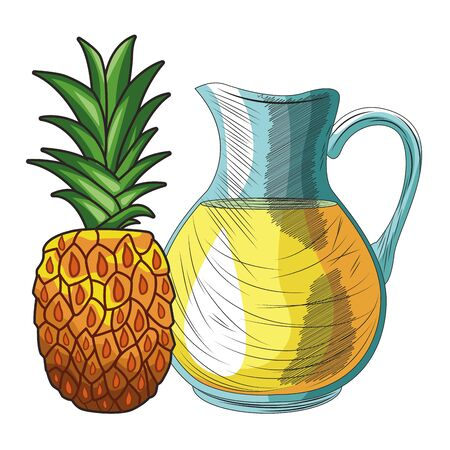 Fresh fruit nutrition healthy grouped pineapple and orange juice jar fitness diet options vector illustration graphic design