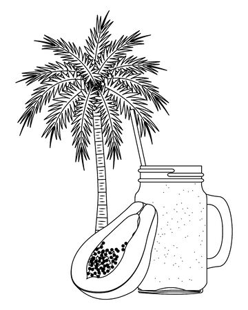 summer beach and vacation with tropical fruit, palm and smoothie drink icon cartoon in black and white vector illustration graphic design Ilustração