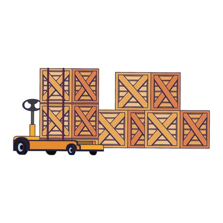 Merchandise wooden boxes piled up and handtruck vector illustration 일러스트