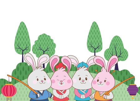 Rabbits celebrating mid autumn festival with paper lantern cartoons in the forest nature background ,vector illustration graphic design.