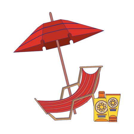 Summer and beach sunchair and umbrella with bronzer bottles cartoons vector illustration graphic design