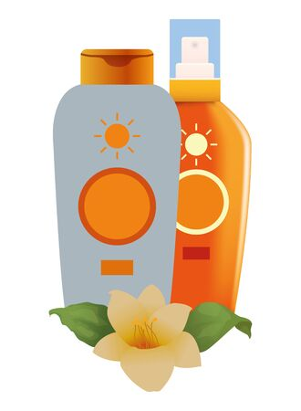 Sun bronzer bottles with tropical flowers cosmetics products ,vector illustration graphic design.