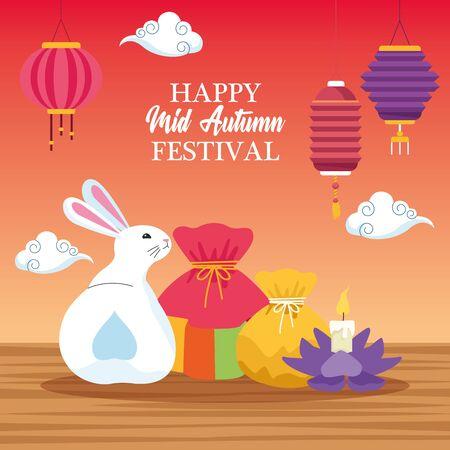 mid autumn chinese festival cute rabbit with oriental lanterns and chinese translate card cartoon vector illustration graphic design Illusztráció