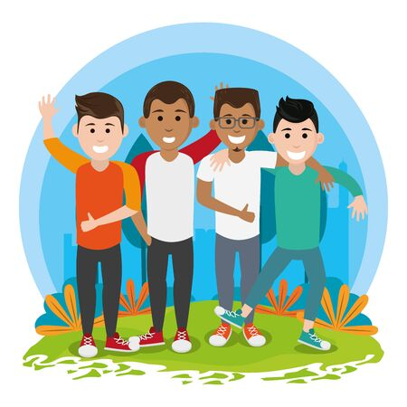friends youth men people happy, men in urban park cartoon vector illustration graphic design