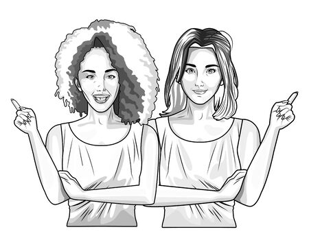 Pop art beautiful two women models smiling cartoon ,vector illustration graphic design.