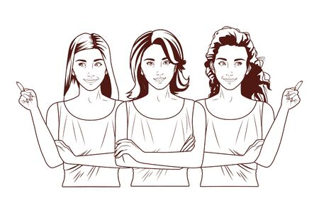 Pop art beautiful women models smiling cartoons in black and white ,vector illustration graphic design.
