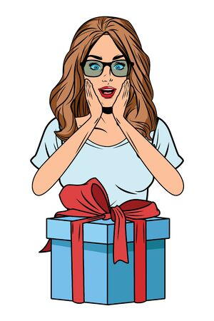 young woman avatar with glasses and gift box profile picture cartoon character portrait vector illustration graphic design
