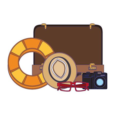 Travel vacations and summer suitcase and float with hat glasses and camera cartoons