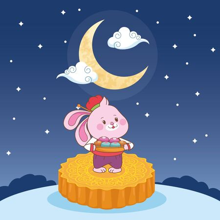 mid autumn chinese festival cute rabbit standing in mooncake at night cartoon vector illustration graphic design Ilustração