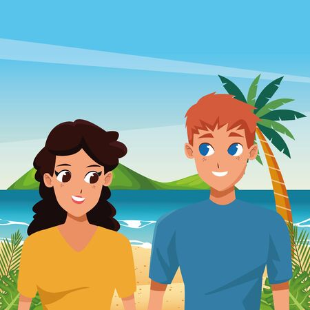 Young couple boyfriend and girlfriend smiiling and walking cartoon in the beach scenery ,vector illustration.