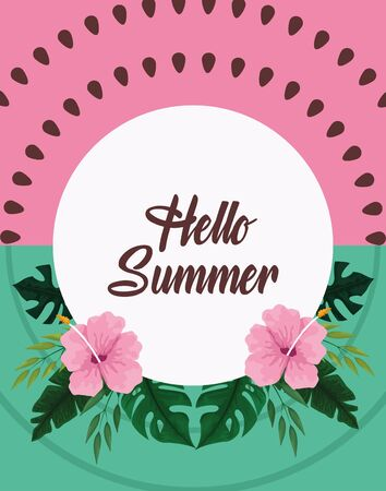 Hello summer poster card with tropical leavesa and flowers round frame. vector illustration Çizim
