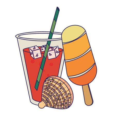 summer beach and vacation with ice lolly, tropical cocktail, shell icon cartoons vector illustration graphic design Stock Illustratie