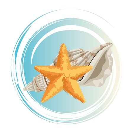summer beach and vacation with starfish and seashell icon cartoon in round icon pop art background vector illustration graphic design Stock Illustratie