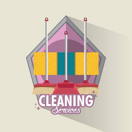 Cleaning service and housekeeping with products emblem on gray background vector illustration