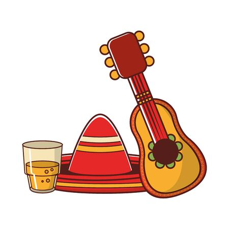 mexico culture and foods cartoons glass mariachi guitar and hat vector illustration graphic design