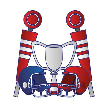 american football sport game champion trophy with helmets and sidelines cartoon vector illustration graphic design 向量圖像